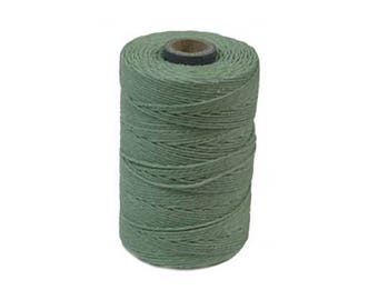 Irish Waxed Linen Thread Sage Green 43689 (50gr, 100yds), Crawford Irish Waxed Linen Cording, 4-Ply Waxed Linen, Linen Jewelry Cord