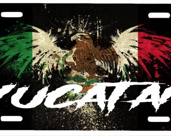 "Yucatán  Mexico Aluminum License Plate Placa  6"" x 12"""