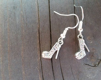 Silver AB Rhinestone High Heeled Ladies Shoe Charm Earrings - Shoes - Gift Ideas - Night out - fun jewelry - Easter Gifts