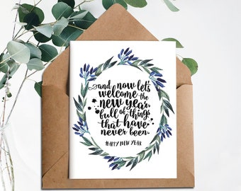 New Years Card,New Year Cards 2018,PRINTABLE card New Years,Welcome the new year,Instant Download,Happy New Year,Holiday card,Floral card