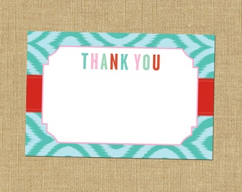Ikat Thank You Notecards Colorful Thank You Note Cards Turquoise and Red Thank Yous Cupcake Party Thank You Notecards
