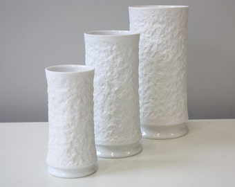Set of 3 bisque vases Op Art, Handmade Germany, Royal Porcelain Bavaria KPM