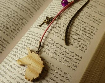 Unicorn wooden bookmarks, her fairy and her fuchsia Crackle glass bead