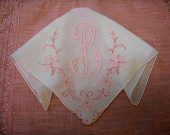 Vintage Monogram B Bridal Hanky Wedding Handkerchief Madeira