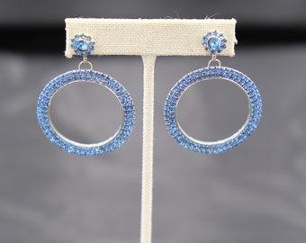 Elegant light blue rhinestone earrings
