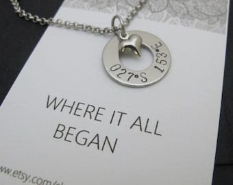 """For her-Girl friend Gift-""""Where it all Began"""" coordinate jewelry-Engagement gift-Engagement Location-Friendship Gift-Personalized Coordinate"""