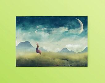 Fantasy Animal Deer Postcard: The Way Home, Animal Postcard, Art Postcard, Unique Postcard, Illustrated Postcard