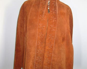 Boho 1960's Vintage Brown Suede Cape Daisy Pattern, Zipper Front, Size Small/Medium
