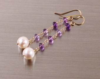 Amethyst Freshwater Potato Pearl Earrings, Gold Filled, White Purple, Long Dangly, Febraury June Birthstone, Handmade Jewelry, Wire Wrapped