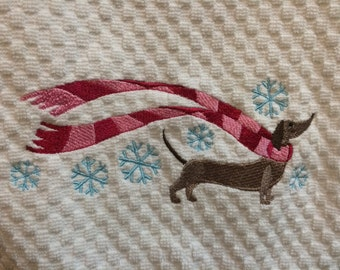 Dachshund, Valentines Day,  Cotton towel, kitchen towel, smooth dachshund.