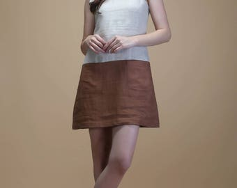 Elegant linen tunic in color-block | tunic, linen tunic, comfy tunic, summer dress, loose tunic, pleated tunic, linen dress, linen blouse