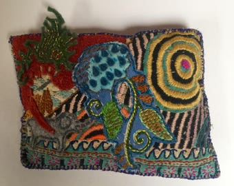 Africa- embroidered buckwheat hull pillow