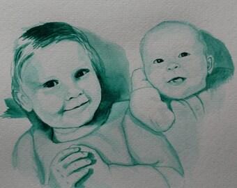 Watercolor children's portrait 2 figures