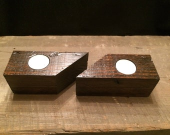 Reclimed Wood Tea Light Candle Holders - Set of 2