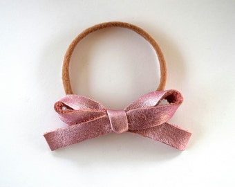 Pink Metallic LARGE Leather Bow OSFA White Nude Nylon Elastic Adorable Photo Prop for Newborn Baby Little Girl Child Headwrap Purple Bow