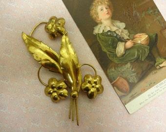 Vintage Art Deco Gold Flower Brooch, Large Gold Brooch, Large Flower Brooch,  Leaf Brooch, artisan brooch (BRO87)