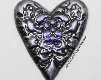Purple and Silver Heart Cabochon, Purple Heart, Silver Heart, Polymer Clay Cabochon