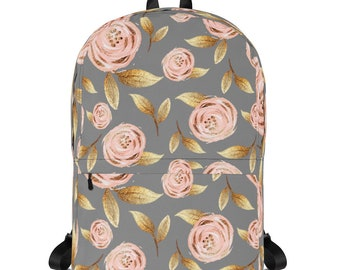 Gray and pink floral Backpack