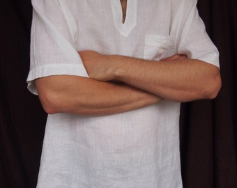 Natural linen men's shirt, White Linen Men's Shirt, Linen clothing, Linen clothes, Organic Linen Shirt, Men Gift