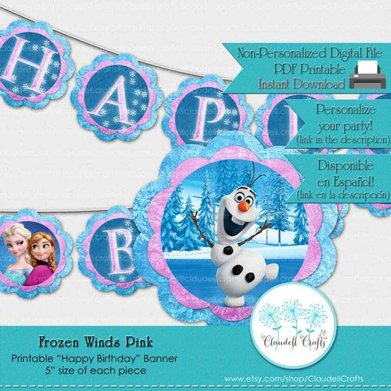 Frozen Winds Inspired Birthday Party Printable Banner Pink