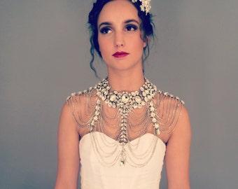 Glam Diamond Rhinestone Cape - Bridal Statement Necklace - Great Gatsby Wedding Necklace  - Custom Wedding Dress