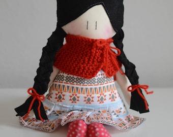 Fabric Doll - Handmade doll with cloth - Cotton doll - little girl doll - soft doll - Black and braid hair doll
