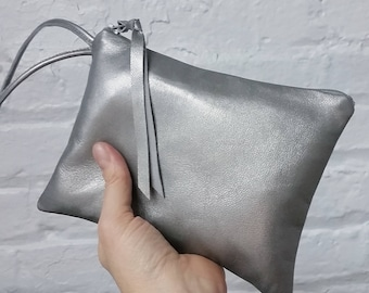 Silver leather clutch / antique silver clutch / Small leather wristlet / leather bags / leather clutch / metallic leather / evening bag