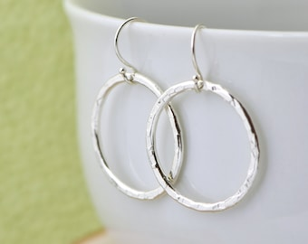 Sterling Silver Circle Earrings, Dangle Earrings, Silver Earrings, Hammered Jewelry, Open Circle Earrings, Gift For Her