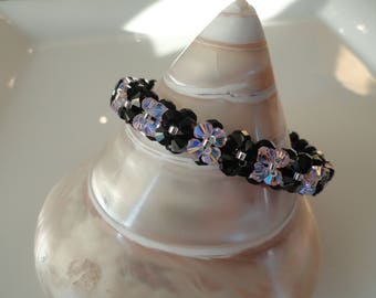 Light pink and black Swarovski Crystal beads bracelet
