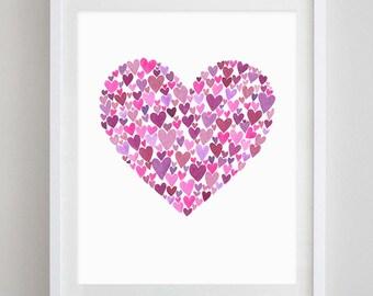 Hearts Watercolor Art Print