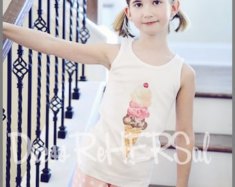 Ice Cream Tank top with optional personalization name