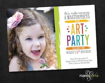 Art or Painting Birthday Party Invitation DIY Custom Digital Printable Card with Child's Photo