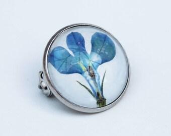 Blue pressed flower brooch