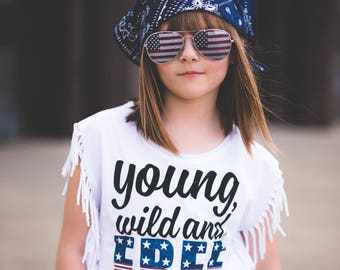 Fourth of July Shirt - 4th of July Shirt for Girl - American Flag - Fringe Shirt - Red White Blue Shirt - 4th of July - Young Wild and Free