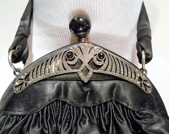 Art Deco Sterling Silver Marcasite With Black Satin Purse, c. 1920