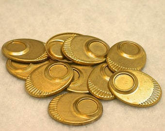 Vintage Raw Brass Metal Oval Stamping Findings for 7mm Cabochons 19mmx14mm pkg6 m126