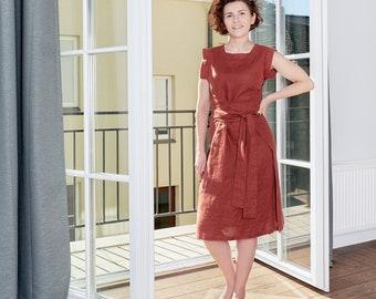 Linen dress. Linen wrap dress. Linen sleeveless midi leisure dress. Belted soft linen casual dress. Flax day dress. Available in 29 colors.