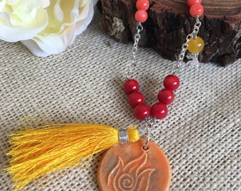 Tassle Necklace - Fire Necklace - Long Necklace - Ceramic Necklace - Elemental Necklace