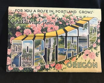 1930s Portland Oregon Souvenir Fold Out Postcard Packet Scenes Mt. Hood City WWII Airplanes Rose City Ephemera Collectible