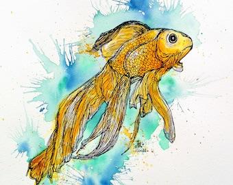 Chinese goldfish, gold, aquarium, art printing, art print, print, art, magnet, fridge, decor, print, airbrush, wall art, poster, home