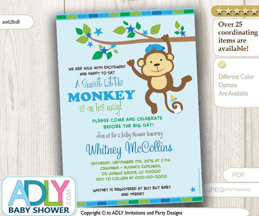 Editable Jungle Monkey Boy Baby Shower Invitation Printable
