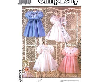 Girls Dress Pattern Simplicity 9579 Holiday Dress Eyelet Trim Puff Sleeves Heirloom Dress Oliver Goodin Child Size 3 to 8 Sewing Pattern