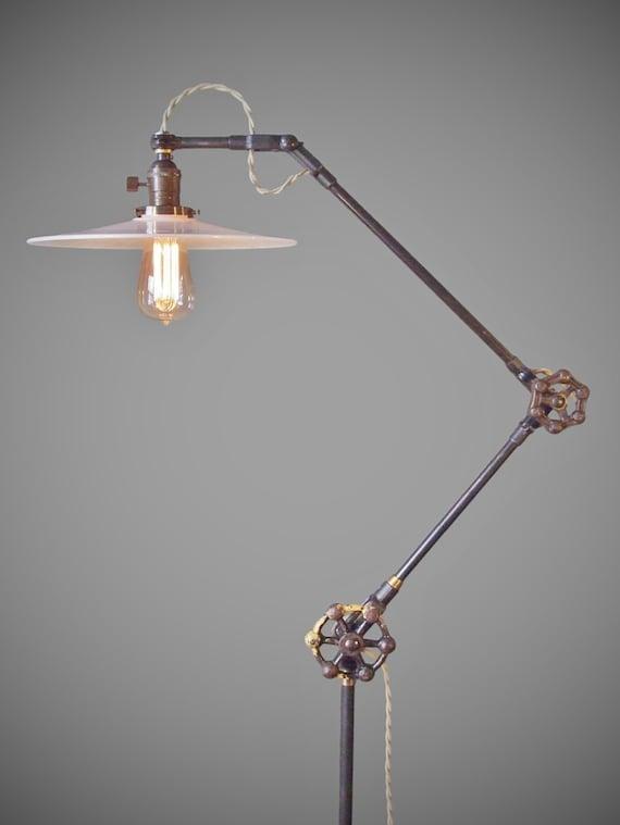 Vintage industrial floor lamp machine age task light cast aloadofball Image collections