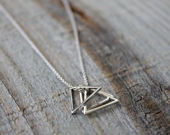 Silver Triangle Stack Necklace - Sterling Silver Triangle Necklace - Geometric Pendant Necklace - Simple Everyday Necklace - Minimalist