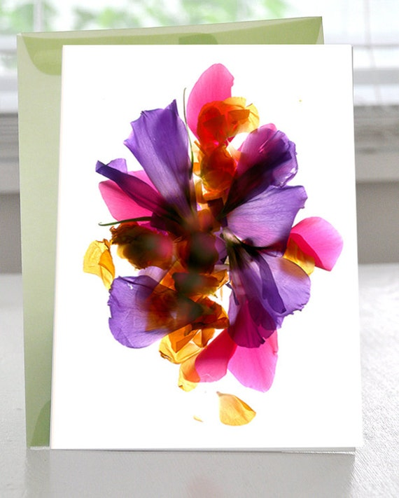 "Greeting Card Flowers Florals Lisianthus et al Blank 5""x7"" Pink Blue"