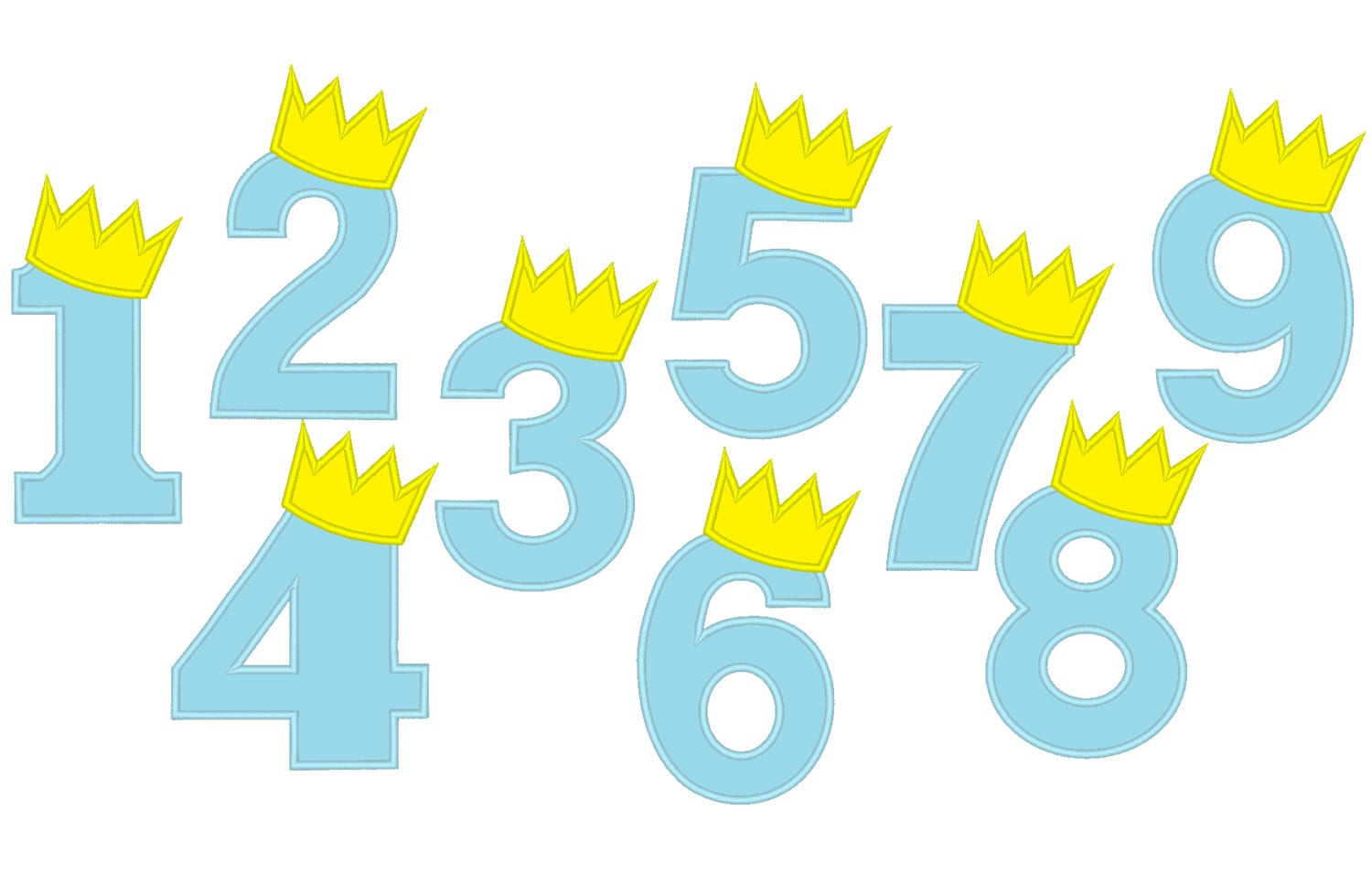 King birthday crown numbers embroidery applique designs for Embroidery office design version 9