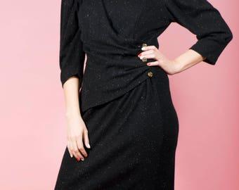 Vintage Sweater Dress Black Dress Midi Dress 80s Dress Party Dress Comfy Dress