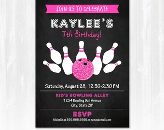 Bowling Invitations - Bowling Invitations - Pink Bowling Invitations - EDIT at home NOW with Adobe Reader!!! - Bowling Party  Supplies