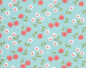 Nest Fabric by Lella Boutiquee for Moda, #5062-15, Robins Egg, Classic Blossom Blue - IN STOCK