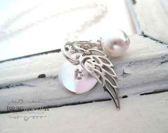 Hand Stamped Necklace . Remembrance Jewelry . Hand Stamped Personalized Jewelry . Brag About It . Teeny Tiny Angel Wing